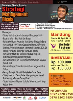 brosur seminar cak eko 20 april 2013
