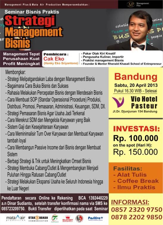 seminar management bisnis bersama cak eko