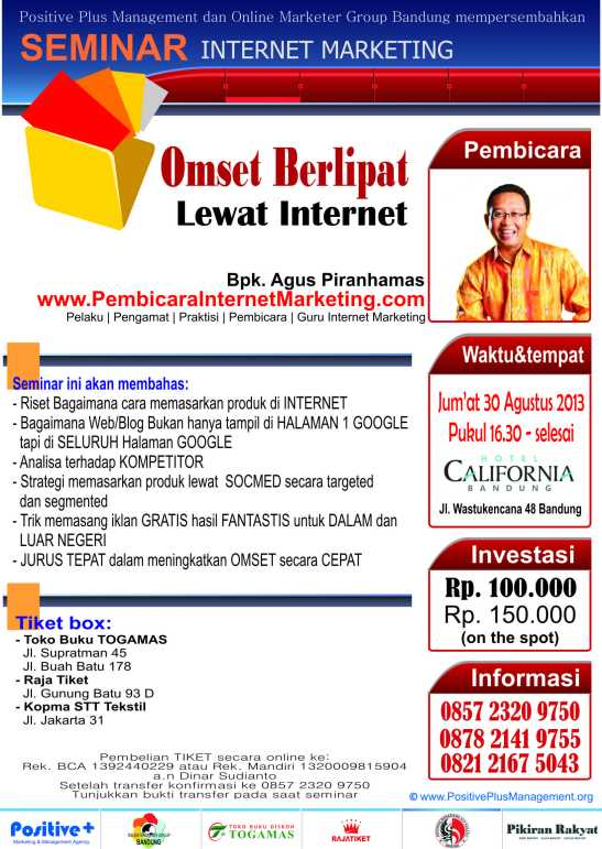 Seminar internet marketing, emset berlipat lewat internet, cara mudah promo lewat internet, optimasi web