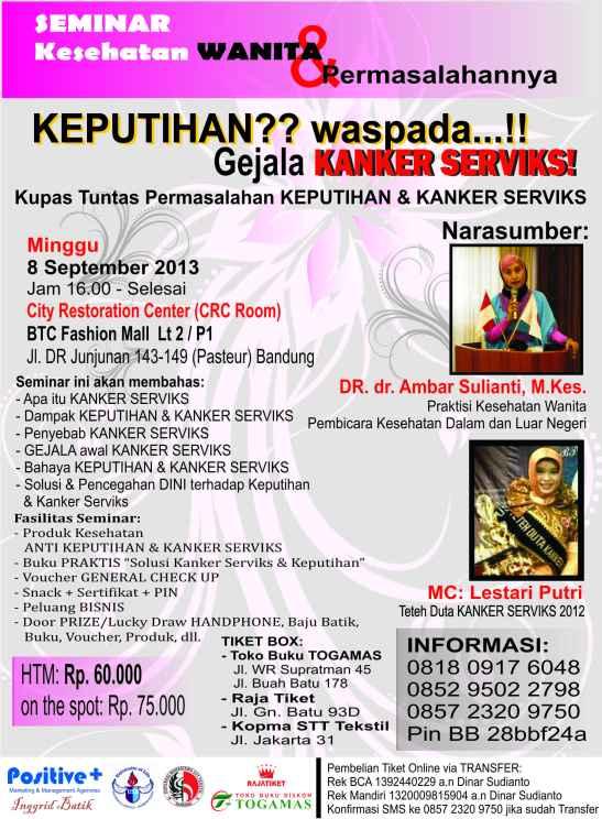 Seminar Kesehatan Wanita, Seminar Kaker serviks, seminar kesehatan 2013, seminar kedokteran