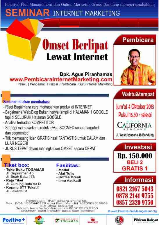 Seminar Internet Marketing Agus piranhamas di Bandung, Cara Membuat Toko Online Teroptimasi