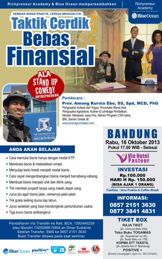 Seminar Bisnis Among Kurnia Ebo di Bandung, Stand up Comedy Entrepreneur Indonesia, Taktik Cerdik Bebas Finansial