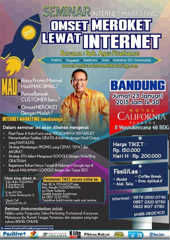 Seminar INTERNET MARKETING 2015, Seminar internet marketing di Bandung