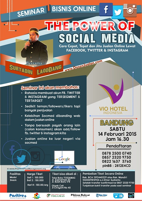 Seminar Facebook Marketing, Seminar Online Marketing, Seminar Facebook dan Online Marketing, seminar instagram, info Seminar Twitter