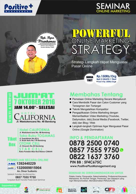 Seminar Marketing Bandung, Seminar Internet Marketing 2016
