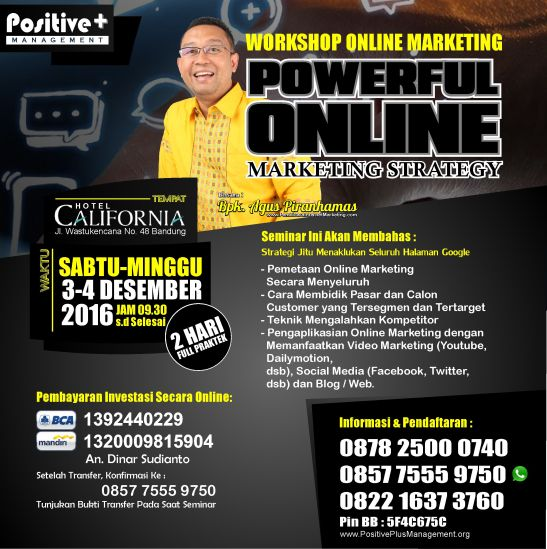 Workshop Online Marketing, Workshop Internet Marketing Bandung, Pelatihan Internet Marketing