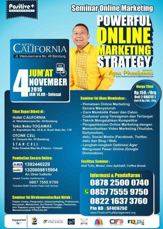 Seminar Marketing Bandung, Seminar Internet Marketing 2016, Seminar Internet Marketing Bandung