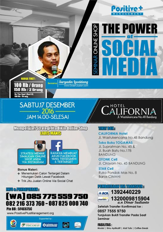 Seminar Online Shop, Seminar Social Media Marketing, Seminar Sosial Media, Seminar Online Shop Bandung